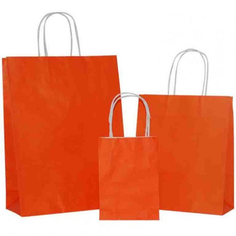 Orange Solid on White Carrier Bags with Twisted Handle