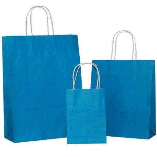 Turquoise Blue Solid on White Carrier Bag with Twisted Handle