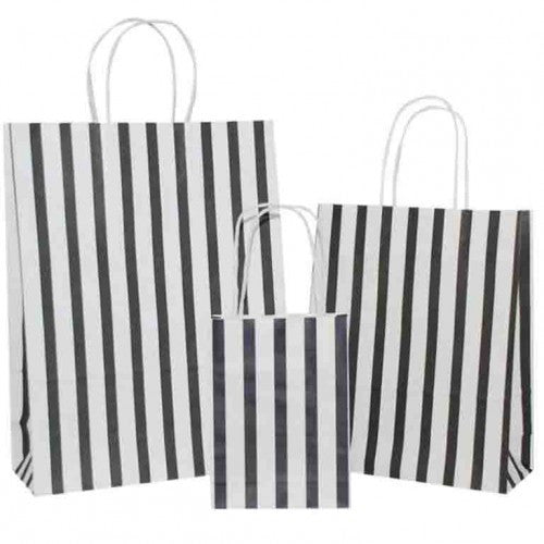 Black Stripes on White Carrier Bag with Twisted Handle