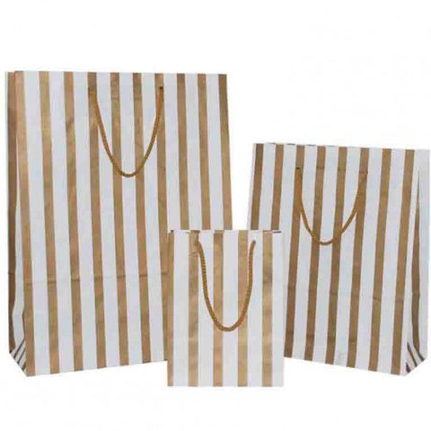 Gold Stripes on White Carrier Bags with Rope Handle