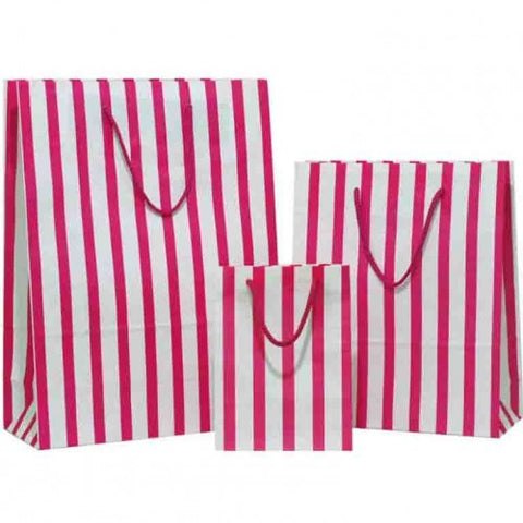Hot Pink Stripes on White Carrier Bags with Rope Handle