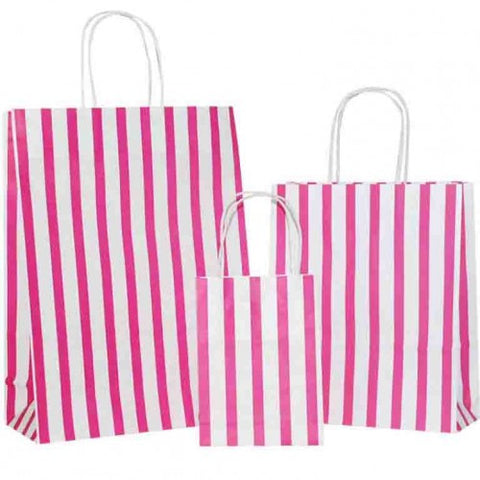 Hot Pink Stripes on White Carrier Bags with Twisted Handle
