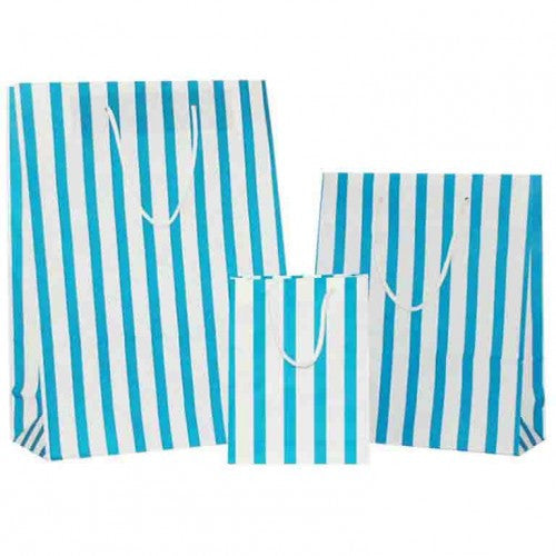 Turquoise Blue Stripes on White Carrier Bag with Rope Handle