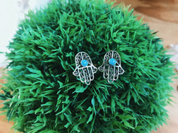 Turquoise Hamsa Earrings - VintageChameleon