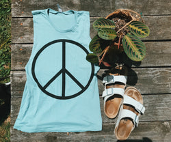 Peace Sign Muscle Tank - VintageChameleon