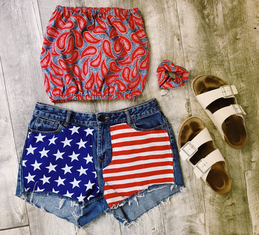 Red White and Blue Paisley Tube Top