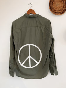 Thick Grey Peace Sign size Medium - VintageChameleon