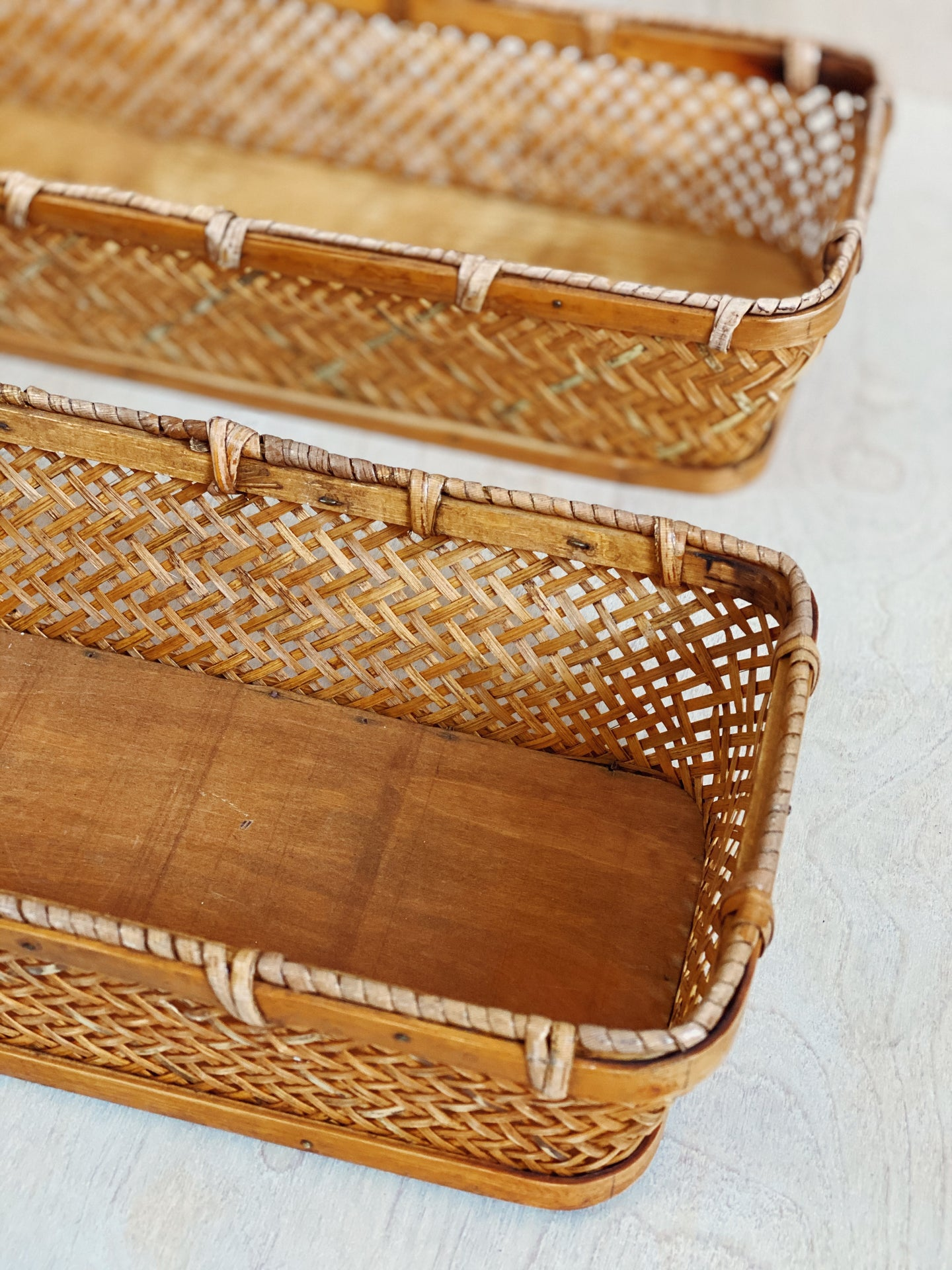 Long Wicker Baskets - VintageChameleon