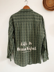 Golfer Shirt Life is Beautiful size Medium - VintageChameleon