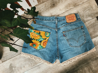 Bohemian Sunflower Patch Shorts