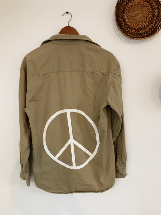 Tan Peace Flannel size Small