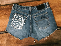 Denim Positive Phrase Shorts - VintageChameleon