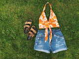 Orange Floral Halter Top