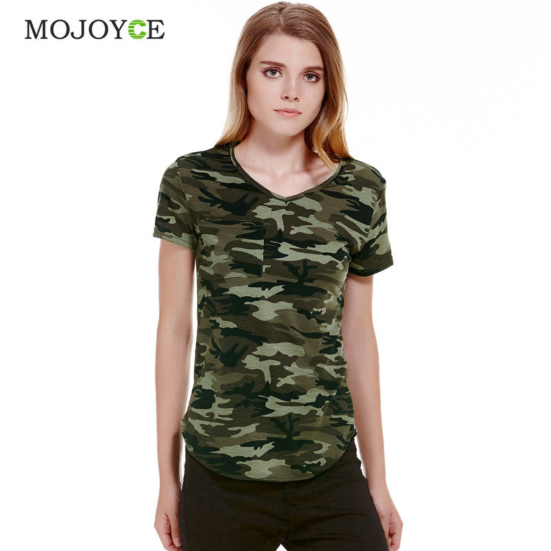 Women Camouflage Pocket T-shirts Army Print Clothes Short Sleeve T-shirt  Roupas Femininas 4be3af1556e