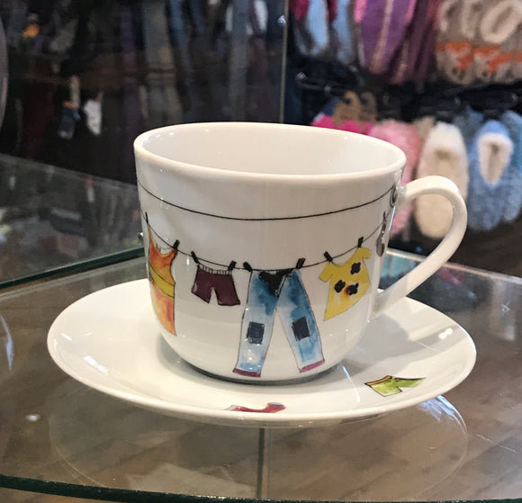 Cup & Saucer - Clothesline Pattern