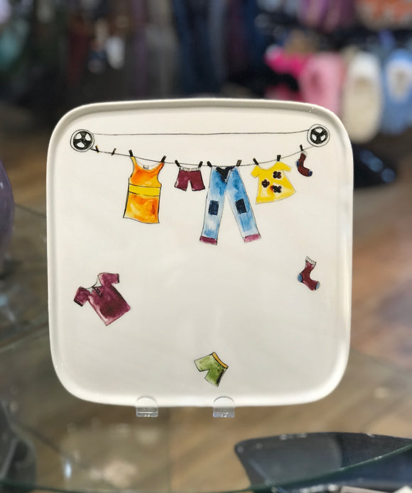 Square Tray - Mom's Clothesline Pattern