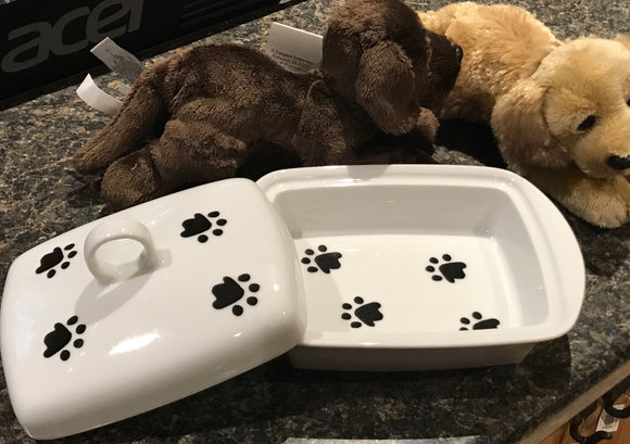 Butter Dish Paw Prints