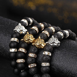 genuine handcrafted exotic luxury matte onyx beaded bracelet with white cz diamonds and 18k gold plating