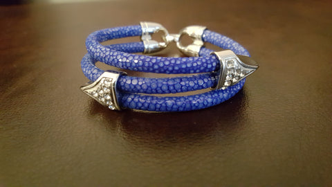 An elegantly handcrafted exotic cobalt blue stingray bracelet - made of only the most exquisite materials found.