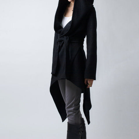 Womens Winter Coat Casual Solid Long Sleeve Hooded Overcoat Black - LTS Trading Co