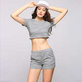 Summer Sportswear Casual Fitness 2017 Two Piece Set Crop Top + Drawstring Shorts #1017 - LTS Trading Co