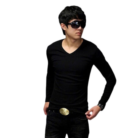Mens Trending T-Shirt Real Solid Broadcloth Slim Fit Cotton Long Sleeve V-Neck - LTS Trading Co