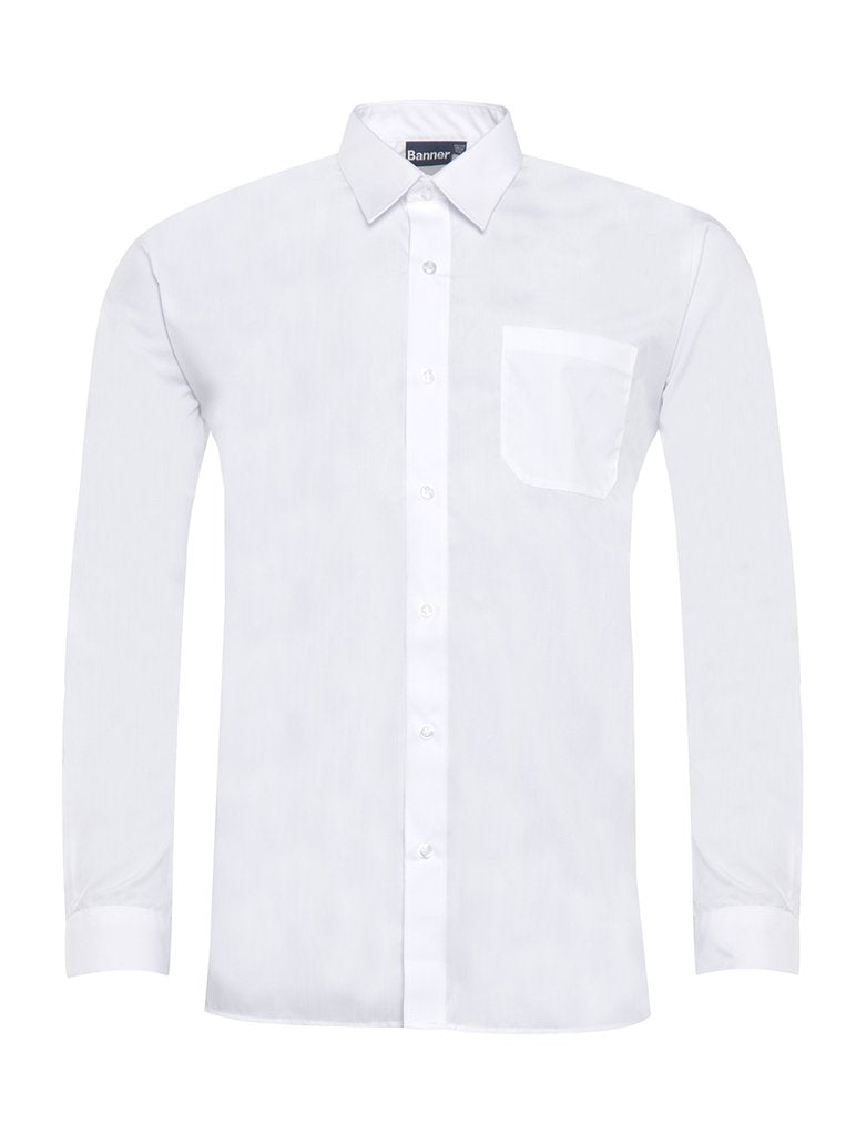 Boys white, long-sleeve, button up shirt (pointed collar)
