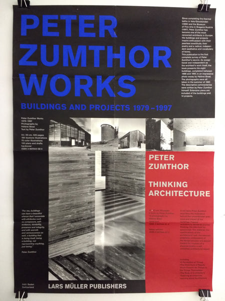 Peter Zumthor - Works - Buildings And Projects 1979-1997 (Poster)