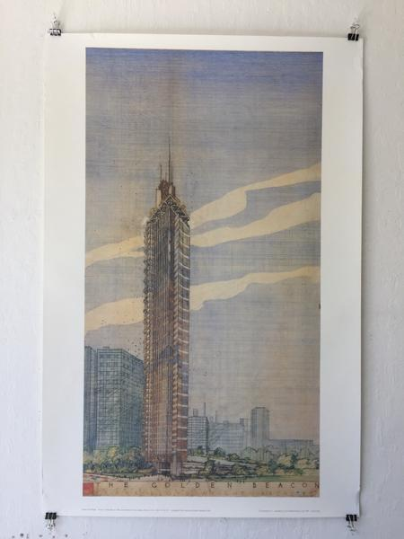 "Frank Lloyd Wright - ""Golden Beacon"" Office + Apartment Building Chicago (Poster)"