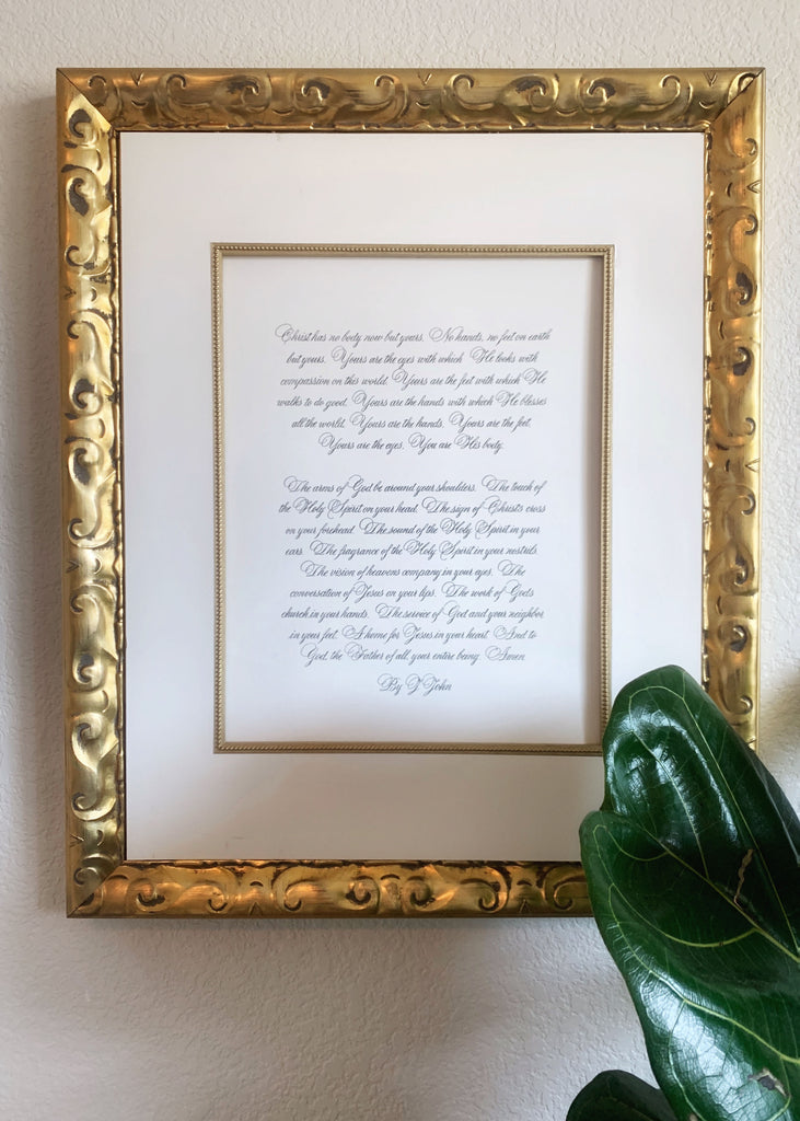 framed calligraphy gift by kestrel montes