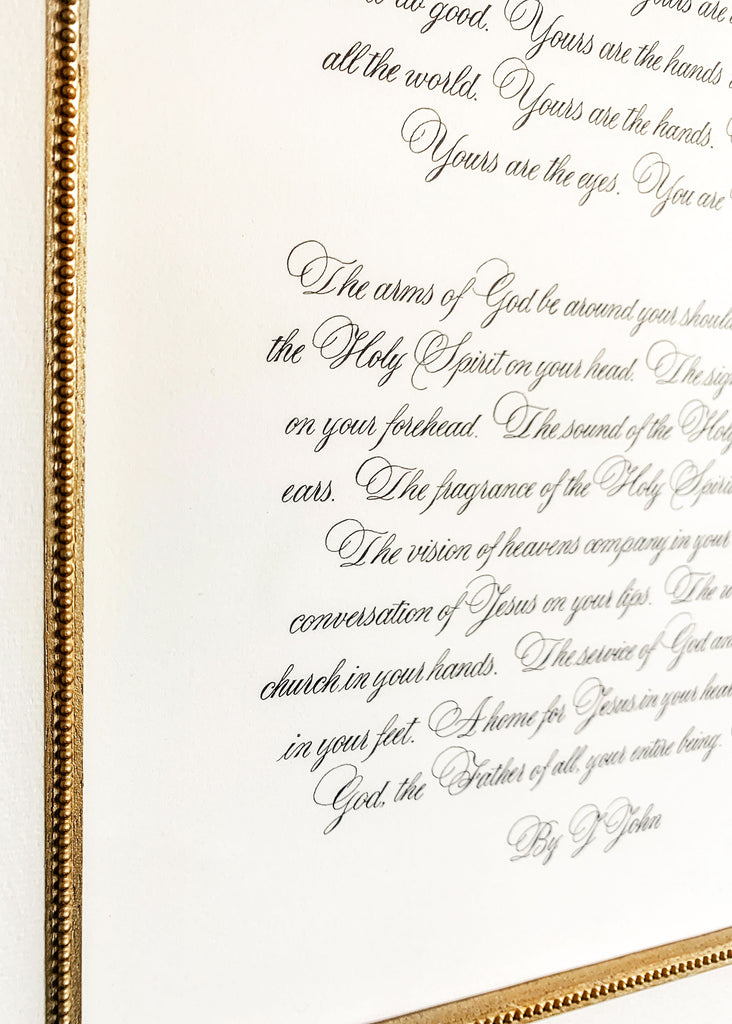 bible quote in copperplate calligraphy by kestrel montes