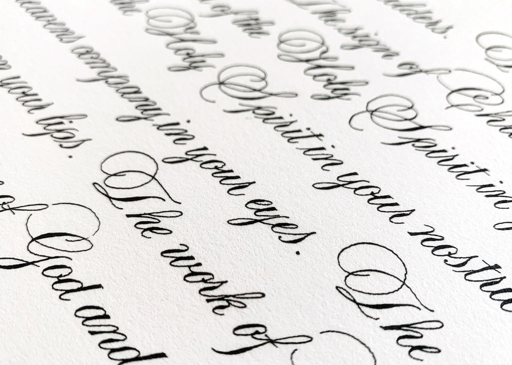 close up of copperplate calligraphy by kestrel montes