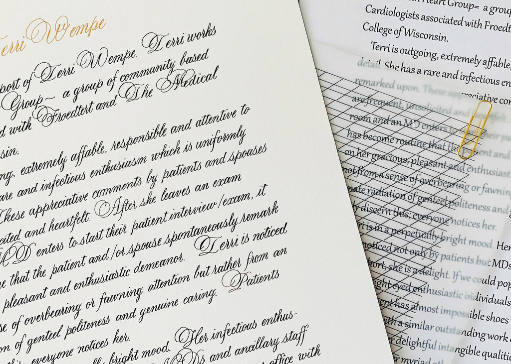 copperplate calligraphy by kestrel montes