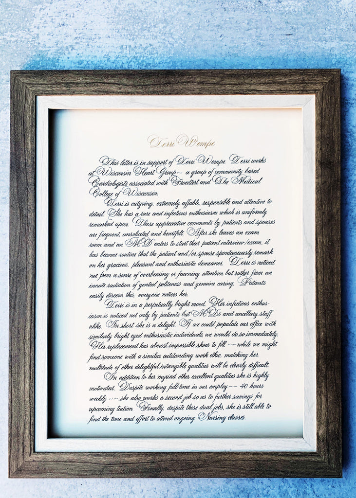 graduation letter in calligraphy by kestrel montes