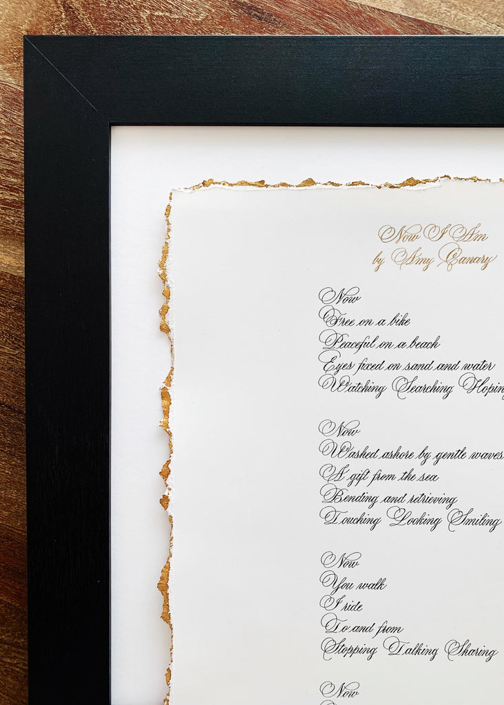 gilded deckled edge calligraphy by kestrel montes
