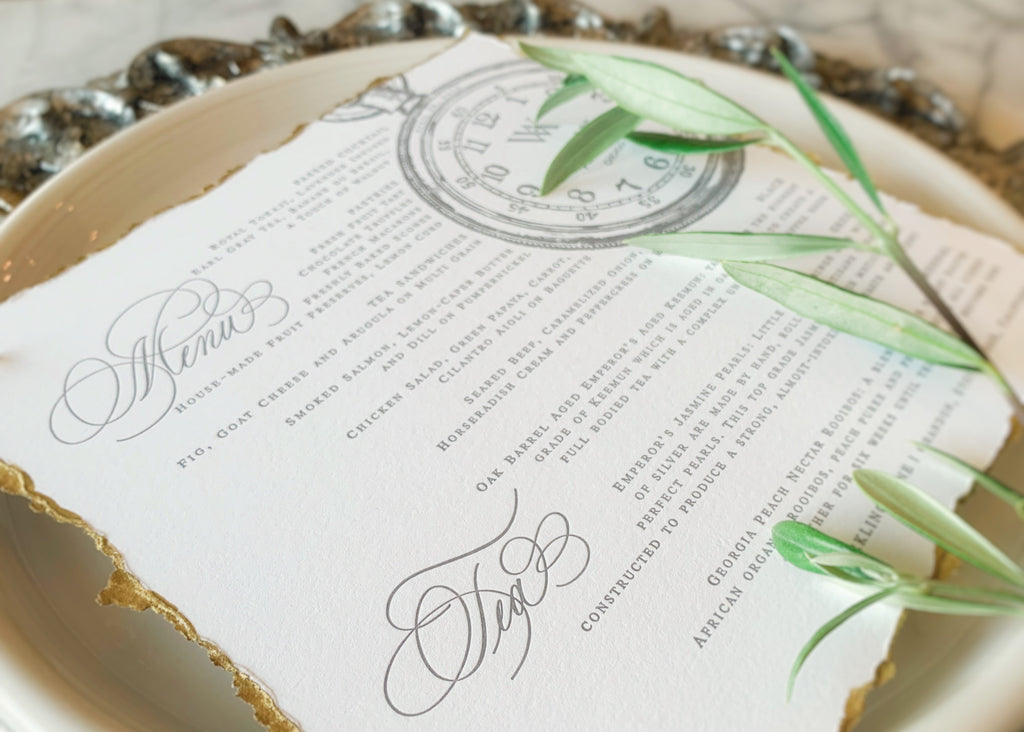 tea party menu in calligraphy and letterpress for waldorf astoria chicago