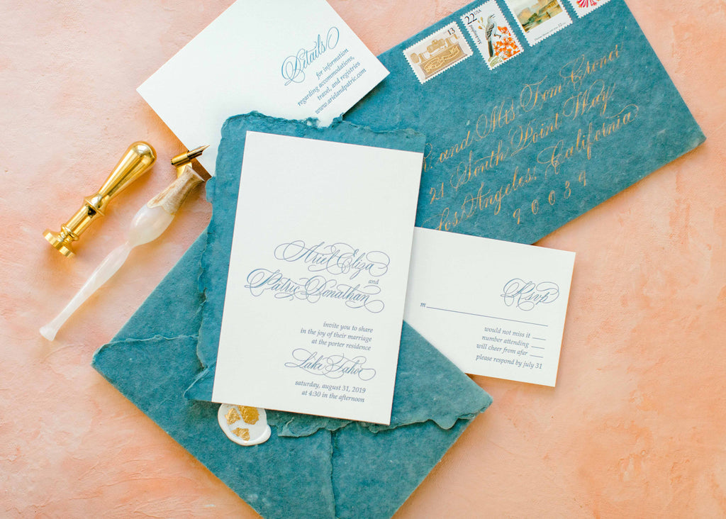 Copperplate calligraphy for letterpress wedding invitation suite