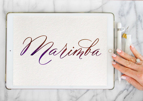 Procreate Brush: Marimba-wedding invitation font-Ink Me This