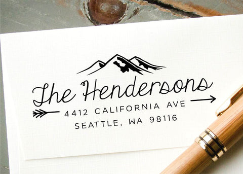 mountains and arrows custom address stamp by inkmethis inkmethis