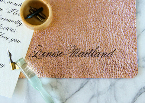 Personalized Leather Blotter: Rose Gold-Ink Me This