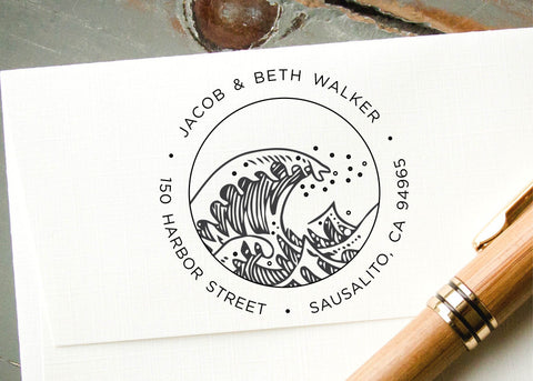 Round Address Stamp #012-custom self-inking stamp-Ink Me This