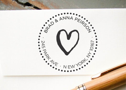 Round Address Stamp #018-custom self-inking stamp-Ink Me This