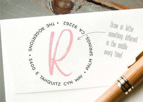 Round Address Stamp #001-custom self-inking stamp-Ink Me This
