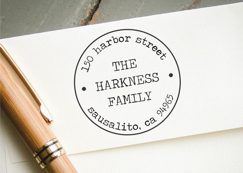 Round Address Stamp #003-custom self-inking stamp-Ink Me This