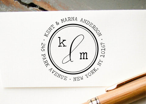 Round Address Stamp #096-custom self-inking stamp-Ink Me This