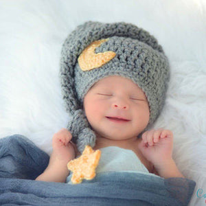 4447bc3a0 Cute Newborn Photography Props Baby Knit Long Tail Hats Crochet Warm Star  Moon Cap Photoshoot Picture Props DIY Baby Album Gift