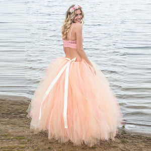 8ec216a3af68a Lush Peach Tulle Ball Gowns Tutu Skirts Maternity Photoshoot With Sash  Ribbon Long Tulle Skirt Pregnant