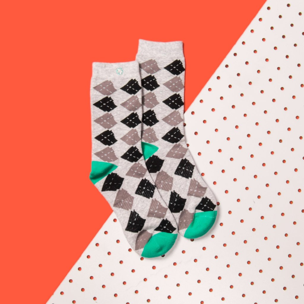 Arkansocks (Argyle State of Mind Ash Heather/Teal)