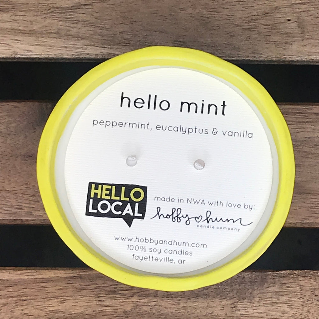 Hello Mint (Peppermint, Eucalyptus & Vanilla) Candle in Small Ceramic Bowl -- Chartreuse