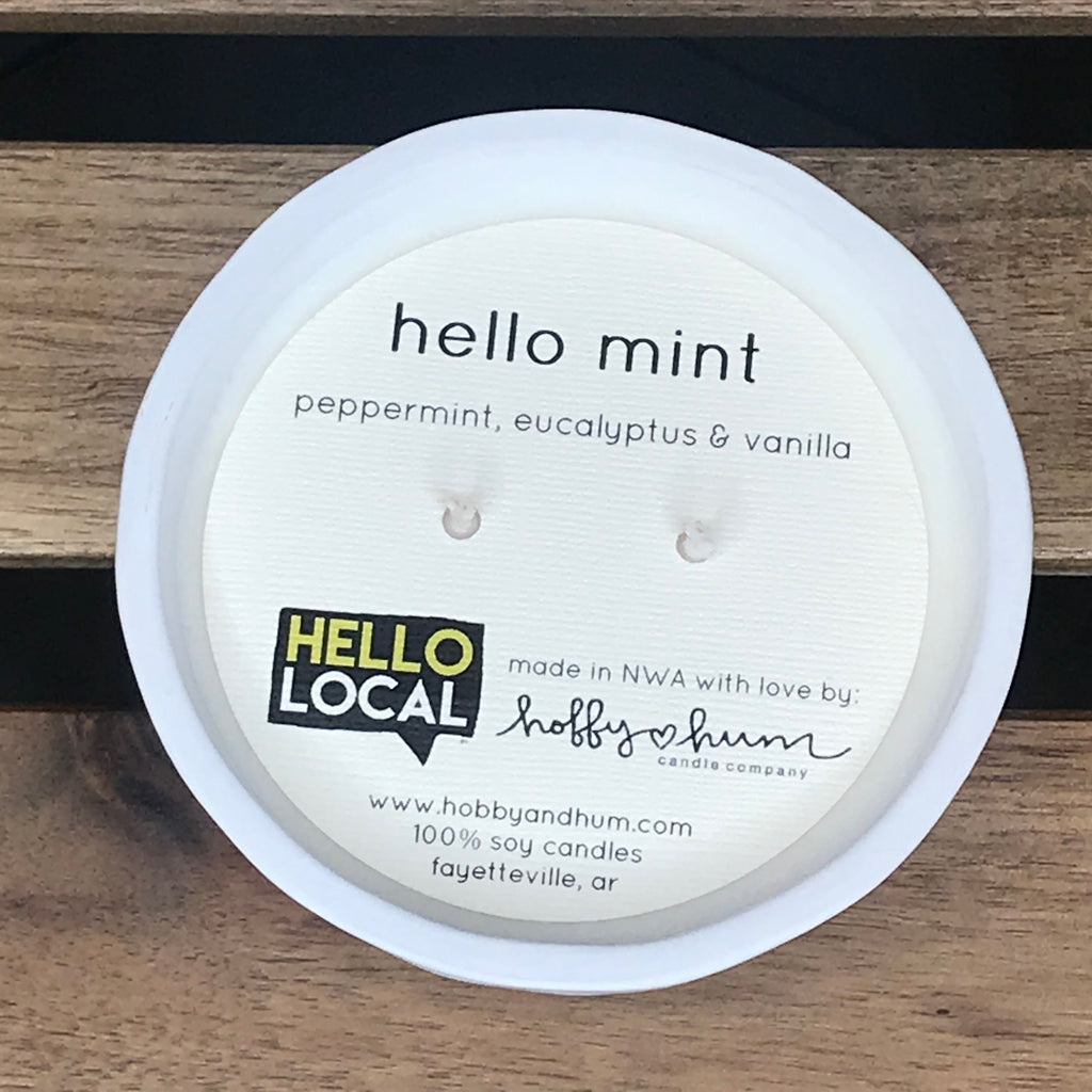 Hello Mint (Peppermint, Eucalyptus & Vanilla) Candle in Small Ceramic Bowl -- White